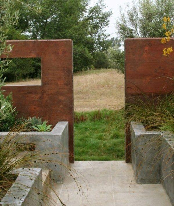 Beton Gartenweg Mauer Eingang Landhausstil Außenanlage - garten sichtschutz mauer