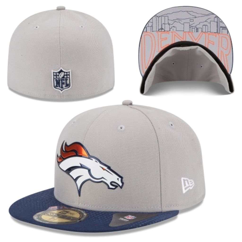 Men s Denver Broncos New Era Gray 2015 NFL Draft 59FIFTY Fitted Hat ... 1577e5a0471