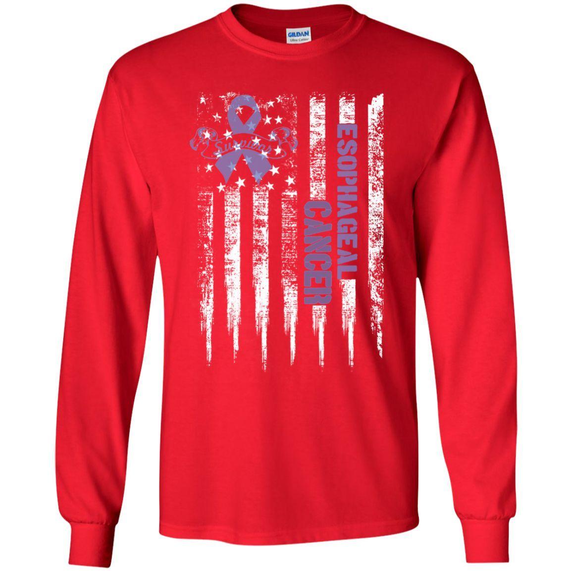 Esophageal Cancer US flag LS Ultra Cotton Tshirt