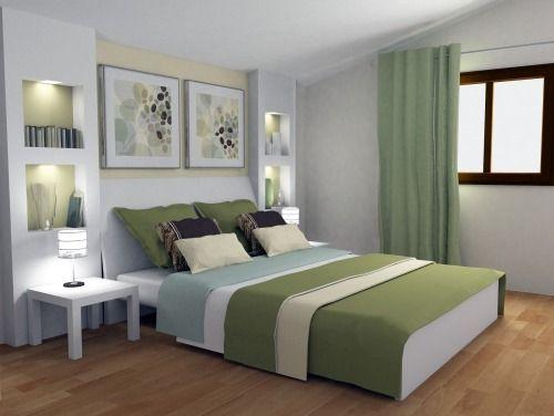 Neben dem Bett die Vorsprünge mit den kleinen beleuchteten Regalen - Schlafzimmer Rustikal Einrichten