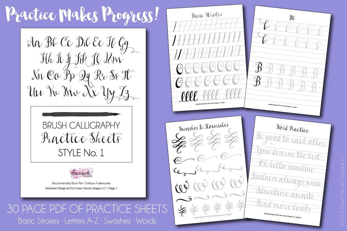 Free Brush Calligraphy Practice Worksheets By Dawn Nicole