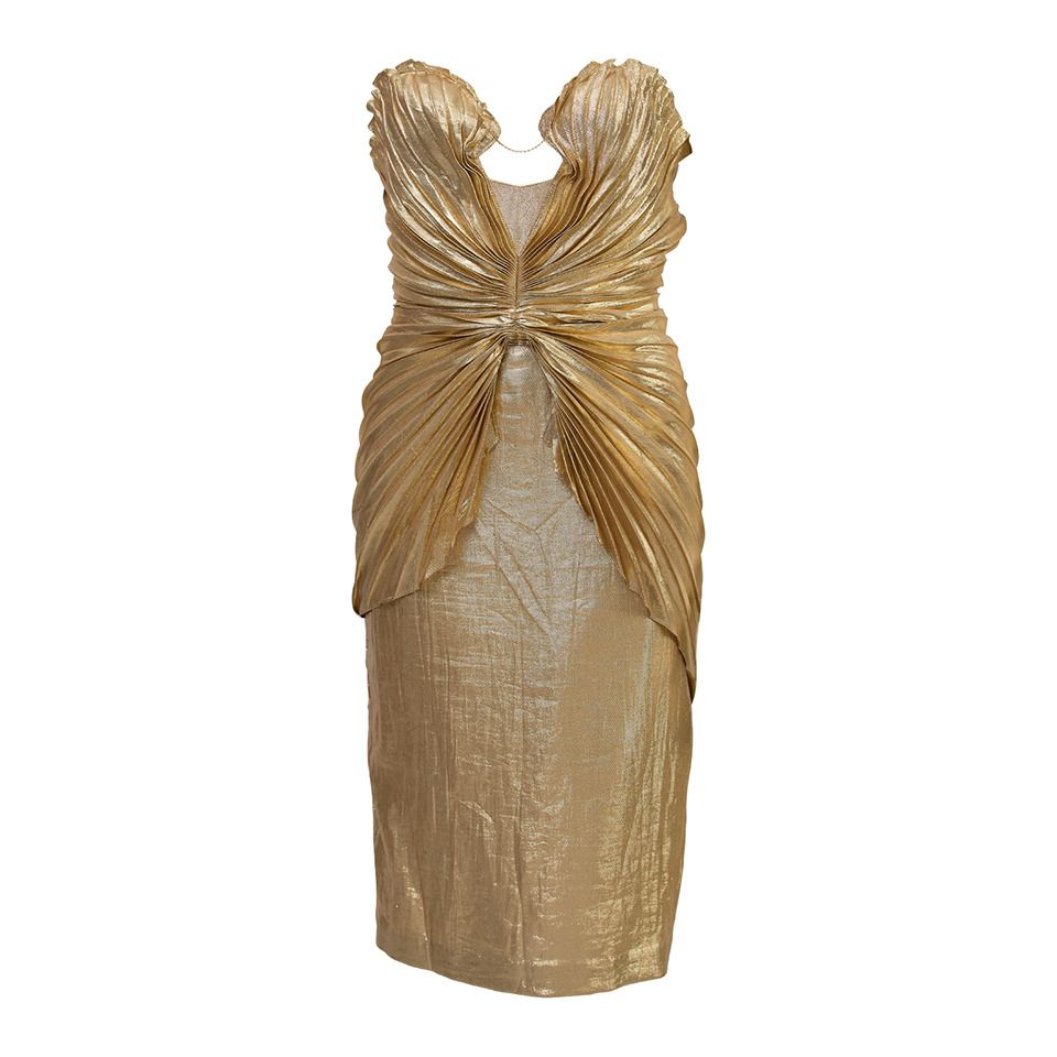 Thierry Mugler Vintage Haute Couture Gold Seashell Dress | From a collection of rare vintage evening dresses at https://www.1stdibs.com/fashion/clothing/evening-dresses/
