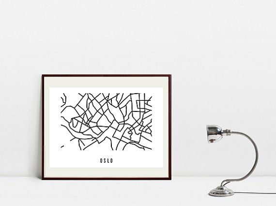 Oslo Abstract Map  Black and White Art Print  Original by Postery