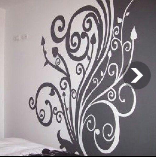 Mural floral gris y blanco
