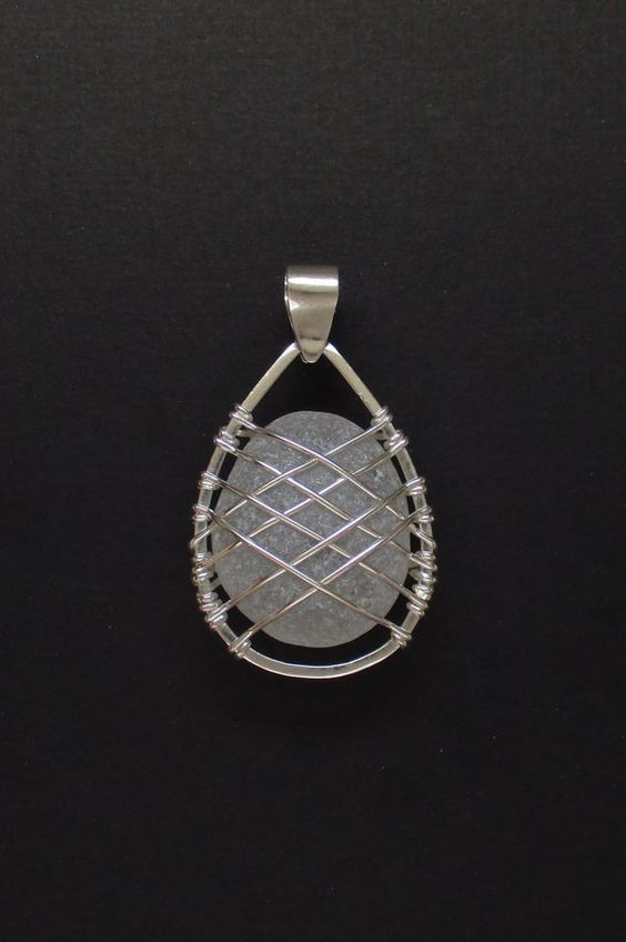 Sea Glass Jewelry – Sterling Caged Large White Sea Glass Pendant