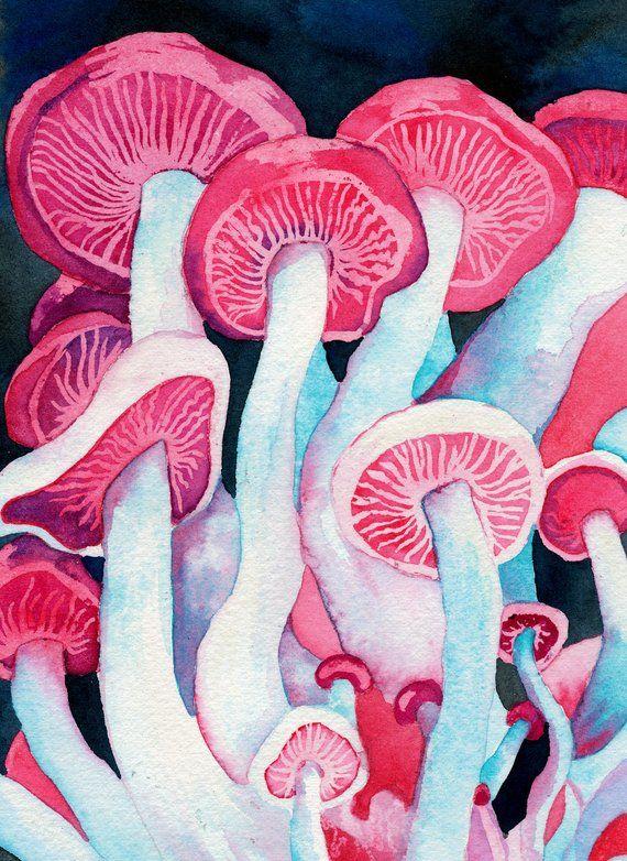 7e9ed826e45e Shamanic Shrooms Mini Print (Colorful Hot Pink Watercolor Painting of Trippy  Psychedelic Magic Mushr