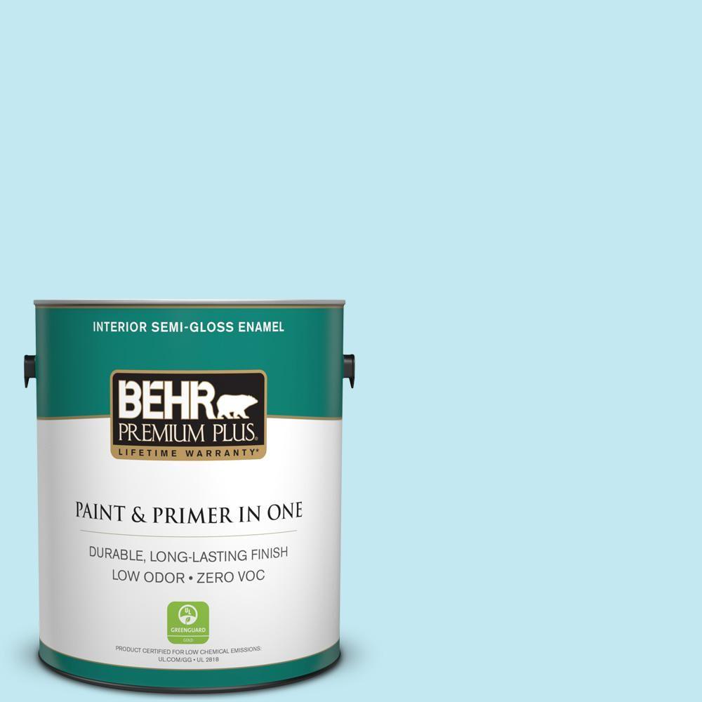BEHR Premium Plus 1-gal. #P480-1 Niagara Mist Semi-Gloss Enamel Interior Paint