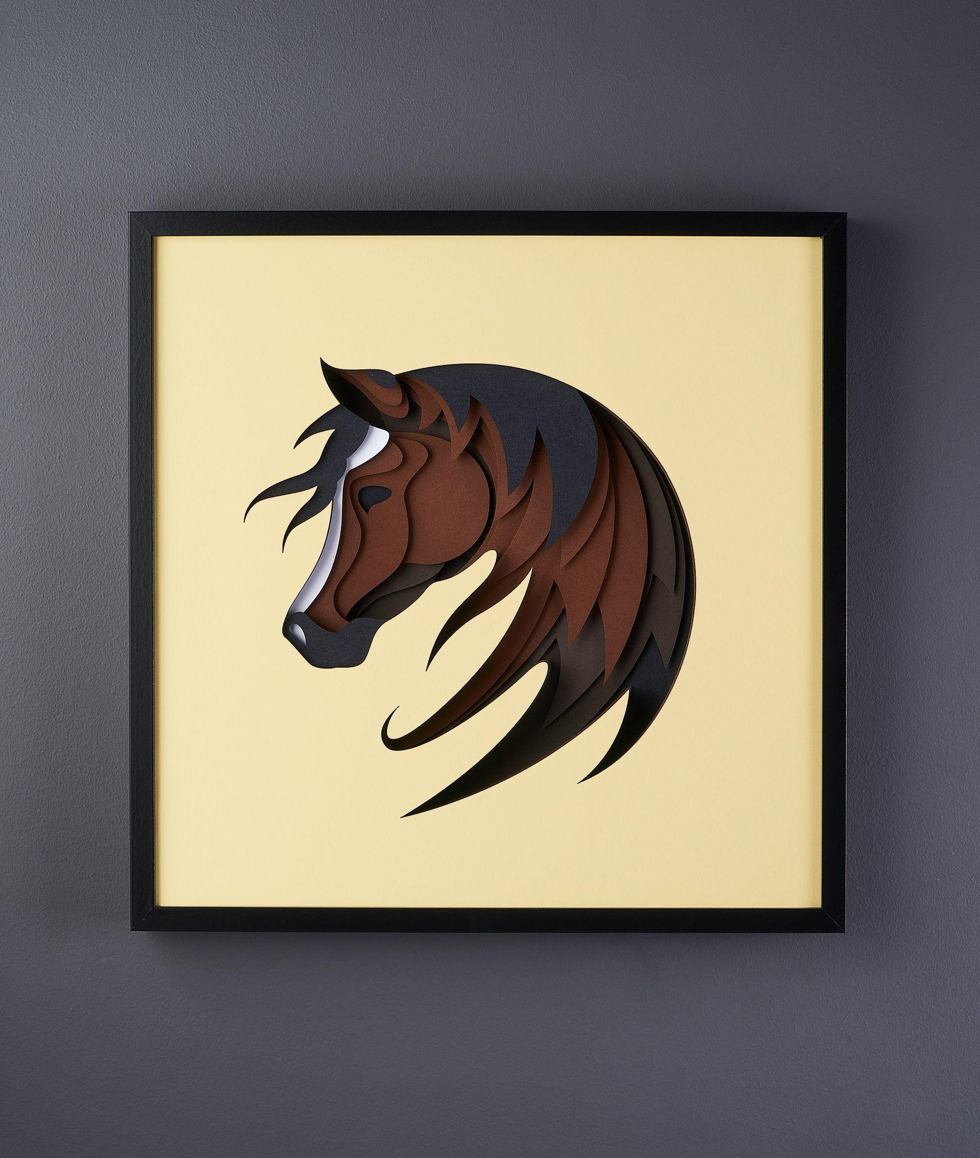 3D Horse Paper ArtWork 52x52cm Paper artwork