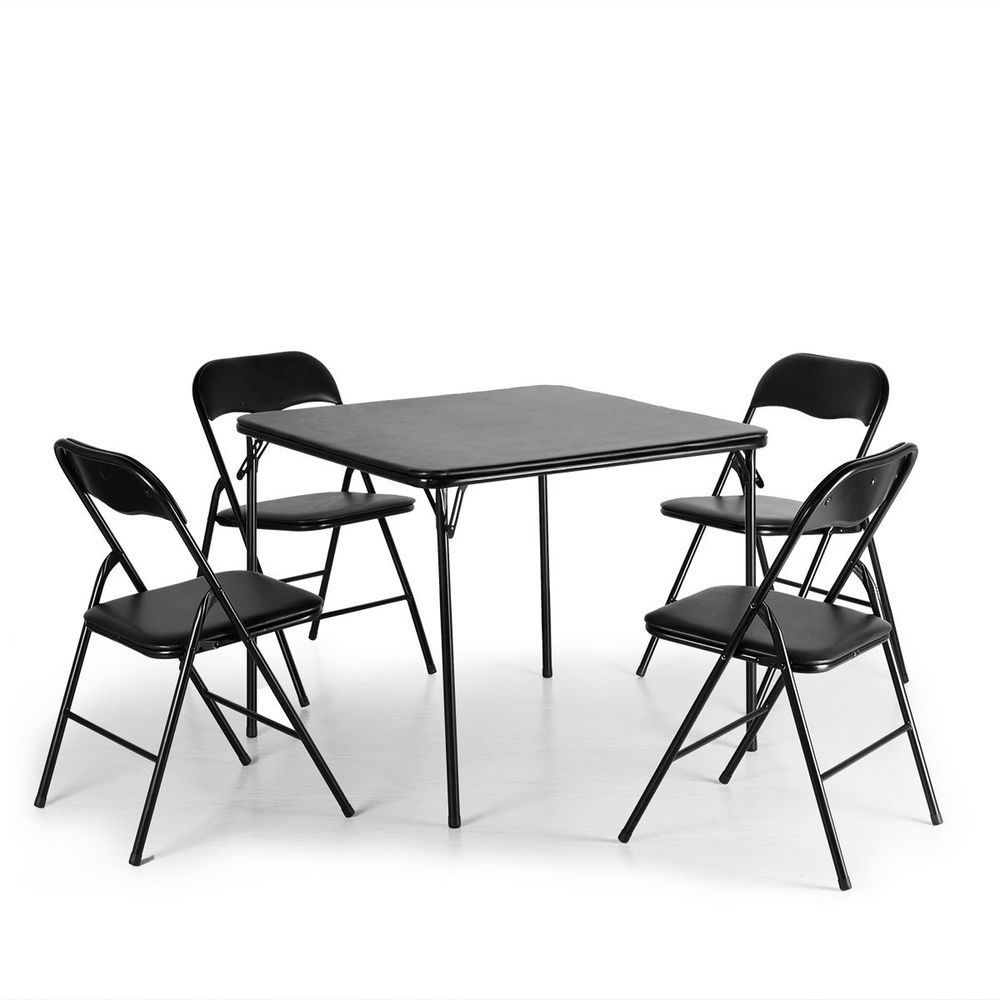 Black Indoor Outdoor Folding Card Table W 4 Chairs Set Light Weight Pvc Material 99 End Date Sunday Nov 2018 1 06 42 Pst It Now