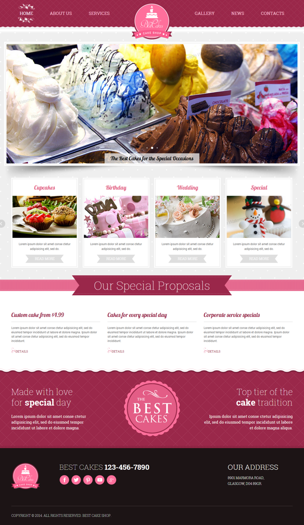 Cake Shop Html Template By Dynamic Template Via Behance Cake Shop Free Website Templates Bakery Website