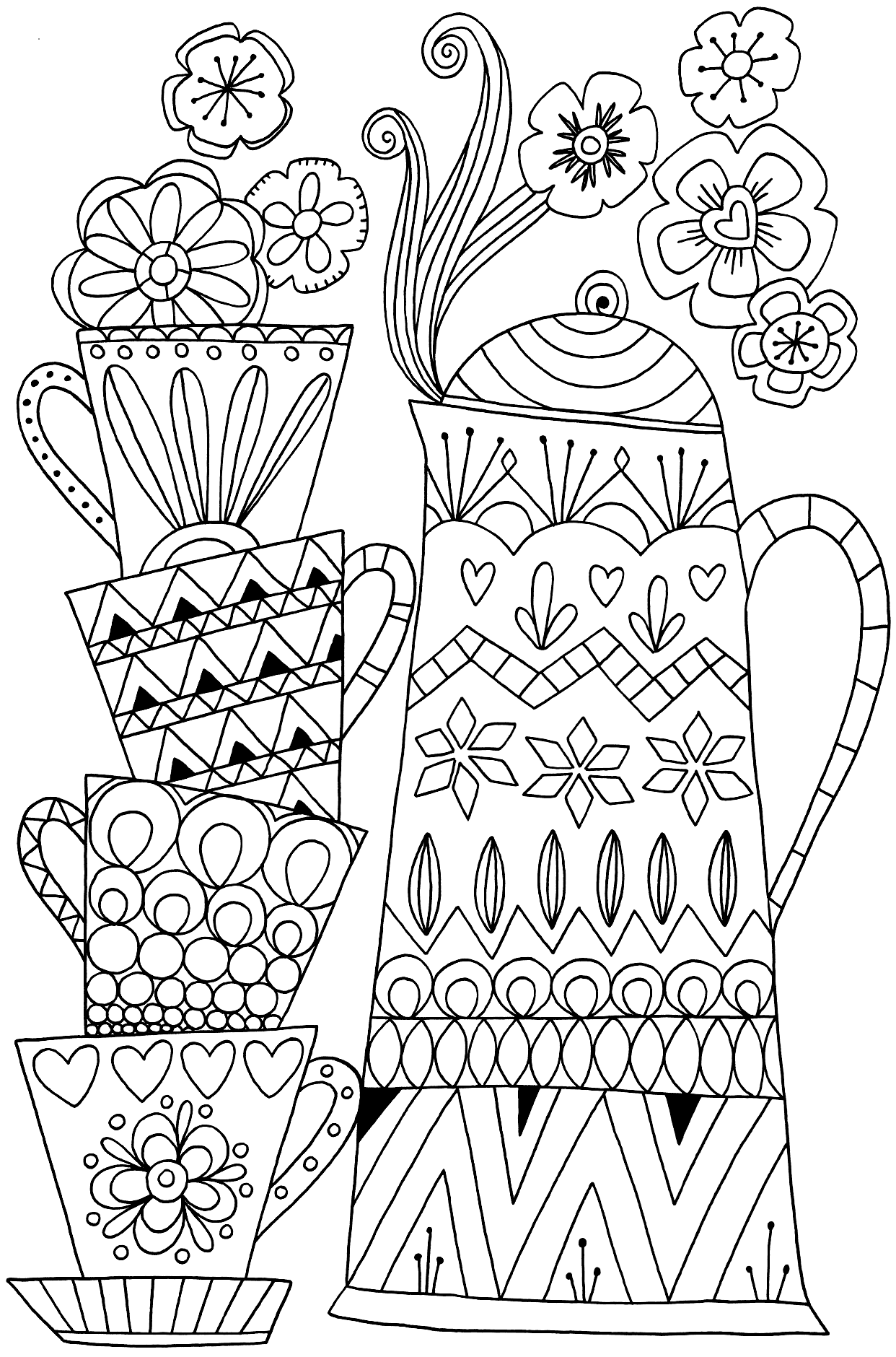 Stacked Coffee Cups Coloring Page coloring.rocks