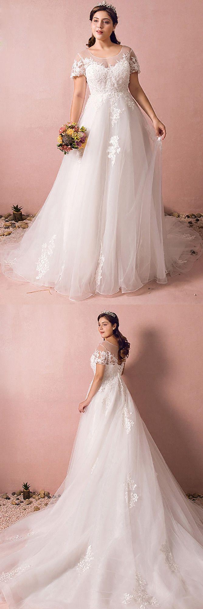 Boho Lace A Line Beach Wedding Dress Plus Size With Sleeves 2018 ...