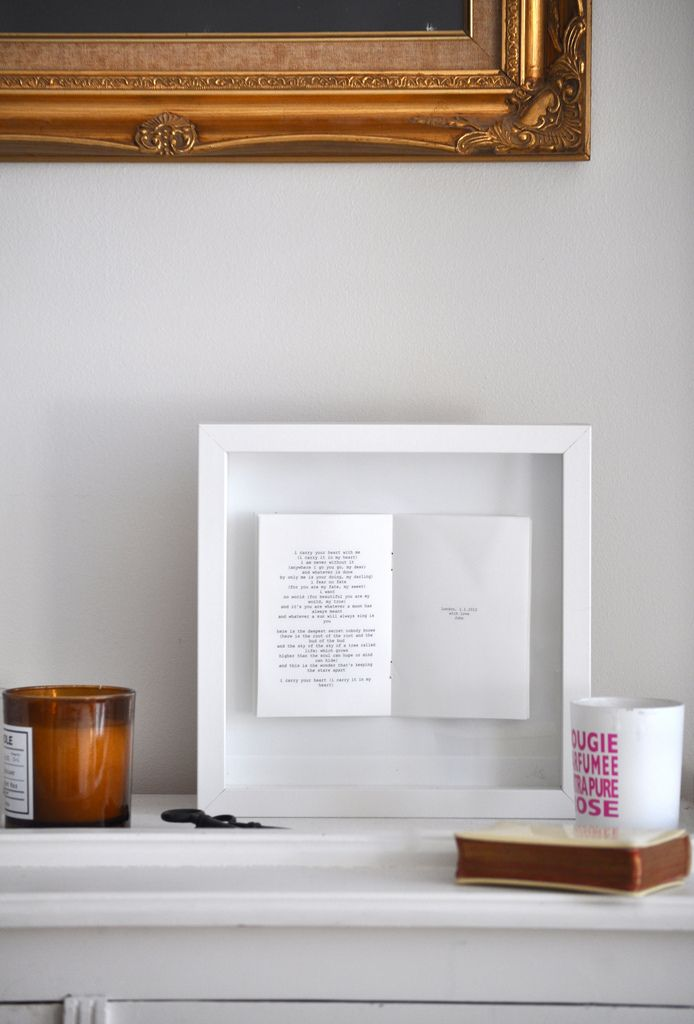 Open a book to your favorite passage and stick in a shadow box frame ...