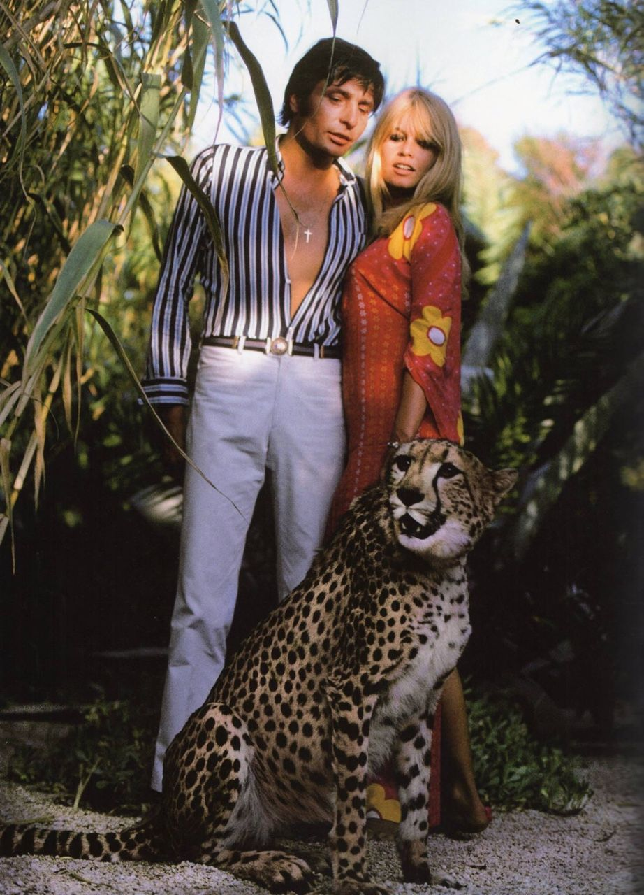 Sixties Brigitte Bardot Gunter Sachs And A Cheetah In 1967