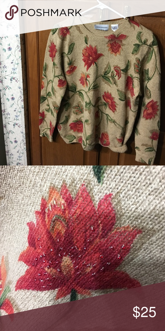 Beautiful Alfred Dunner Sweater Stunning sweater has a tan background with red and orange flowers and winding leaves.  Beautiful beadwork accents most of the flowers. Alfred Dunner Sweaters Crew & Scoop Necks