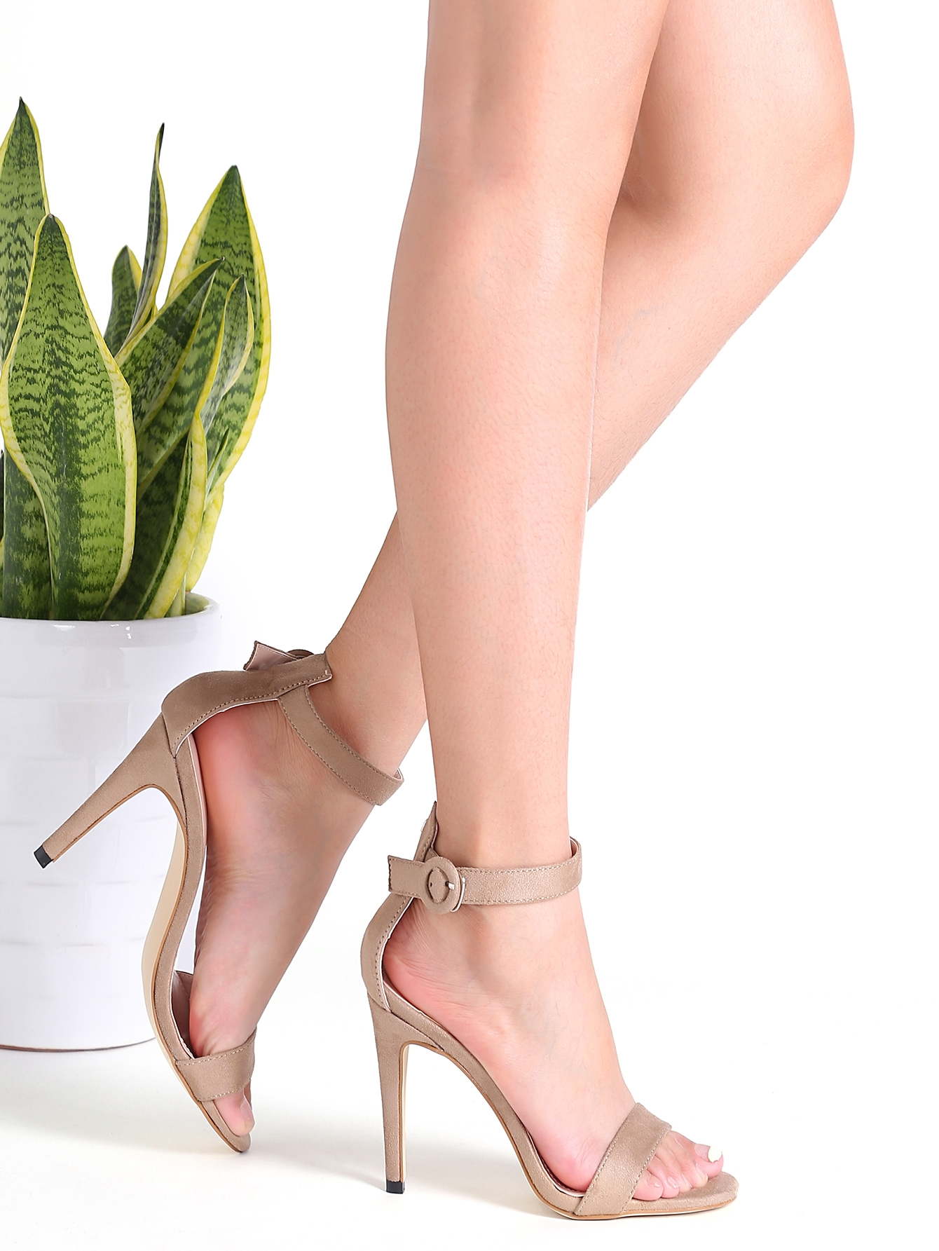 32$  Buy here - http://diuhp.justgood.pw/go.php?t=16801 - Khaki Suede Peep Toe Ankle Strap Stiletto Sandals