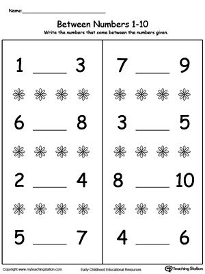 Number In Between 1 Through 10 Worksheet Numbers Kindergarten Number Worksheets Kindergarten Numbers Preschool