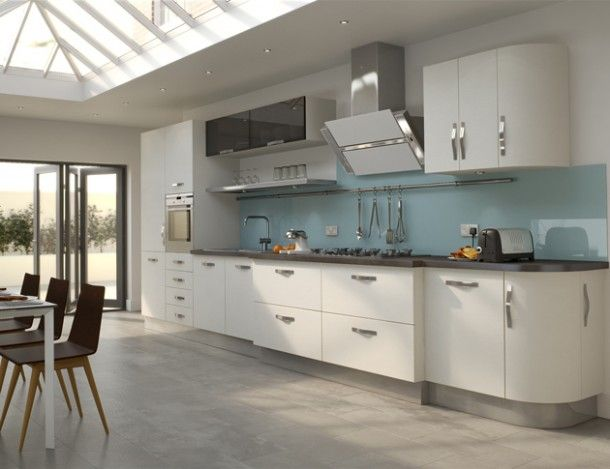 white kitchen gray linoleum floor | high gloss white kitchen with