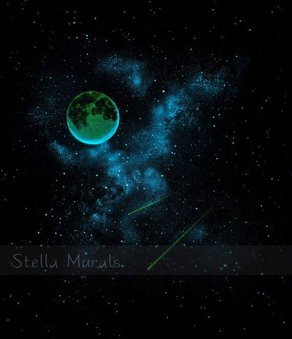 Glow In The Dark Mural Removable Wallpaper Full Moon And Etsy Glow In The Dark Star Ceiling Mural