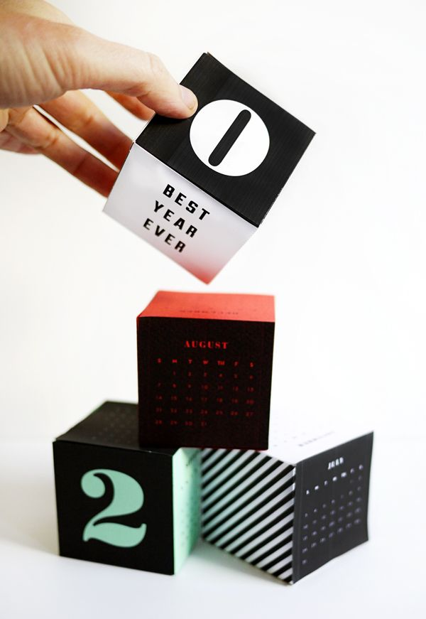 Printable 2016 Calendar Cubes