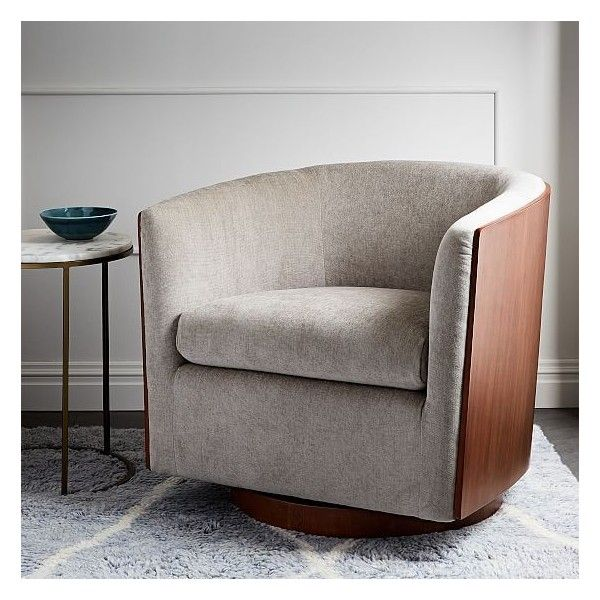 West Elm Luther Swivel Chair, Worn Velvet, Light Taupe ($699) ❤ Liked