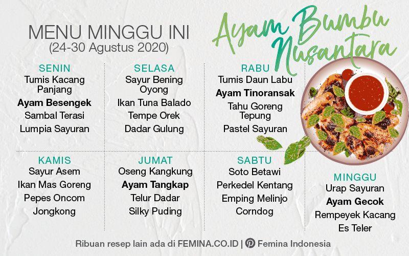 Menu Mingguan Ayam Bumbu Nusantara Makanan Ide Makanan Masakan Indonesia