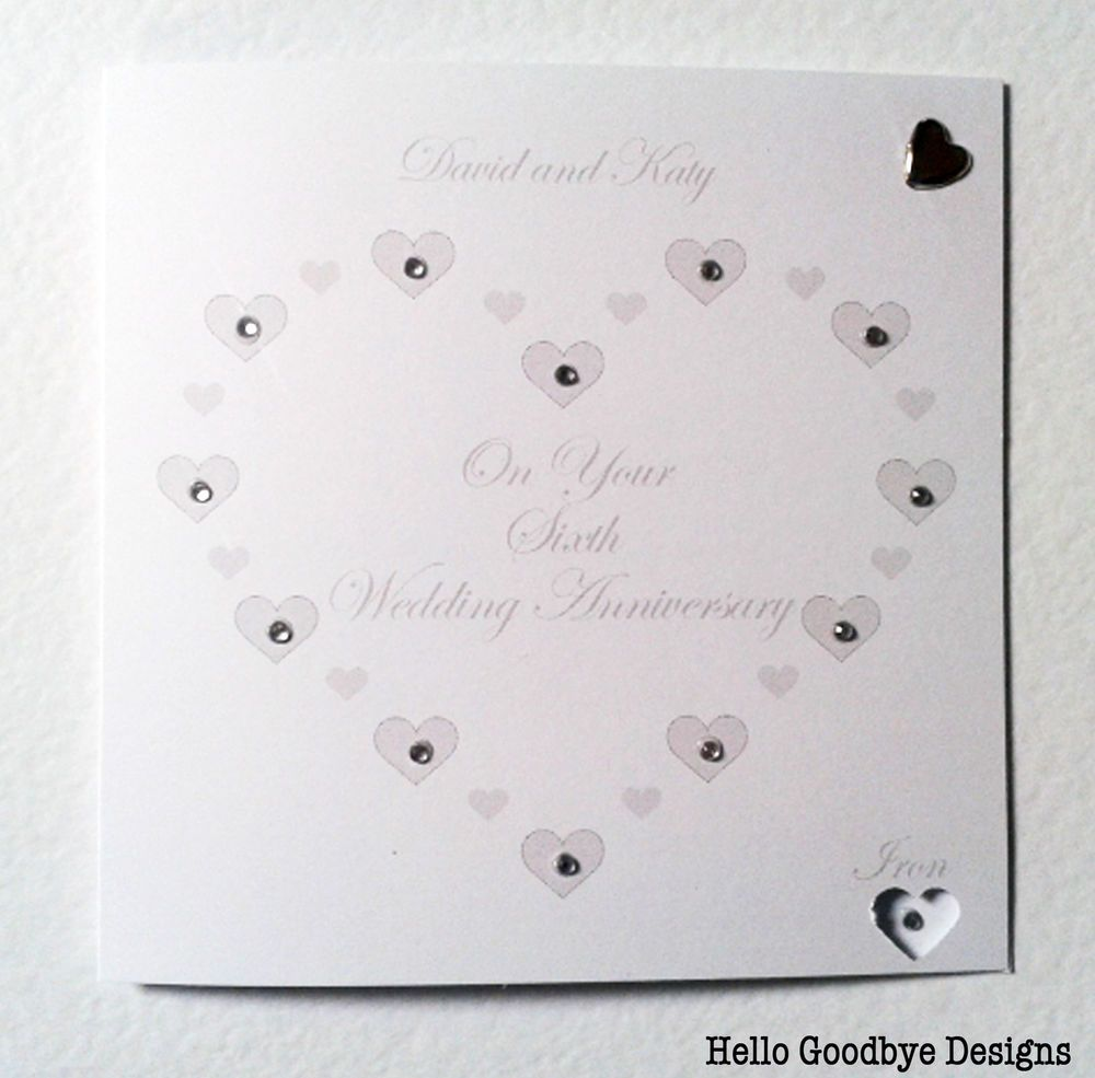 Handmade Personalised Sixth 6th Wedding Anniversary Card Iron Gift Birthday Greeting Cards Anniversary Cards Cards