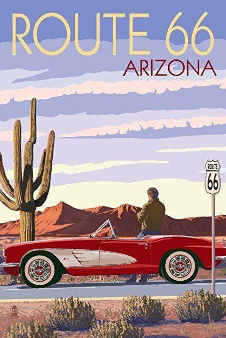 Beste Corvette-Kunstwerke für Ihre Höhle - Arizona - Route 66 - Corvette mit Re ... #mancave