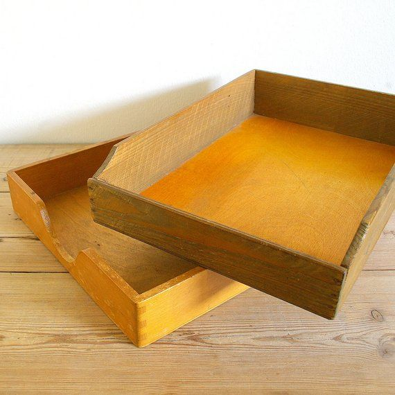 Vintage Wooden Letter Tray Box Stationary Tray Catchall Desk
