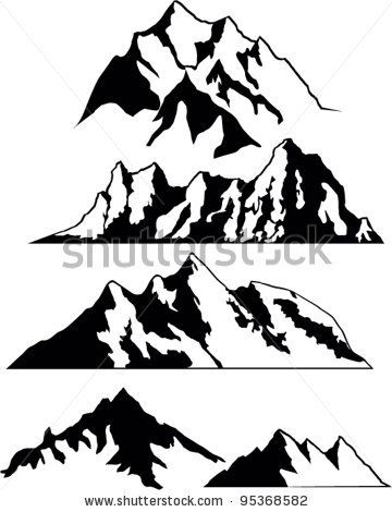 Set Of Vector Silhouettes The Mountains By Tetiana