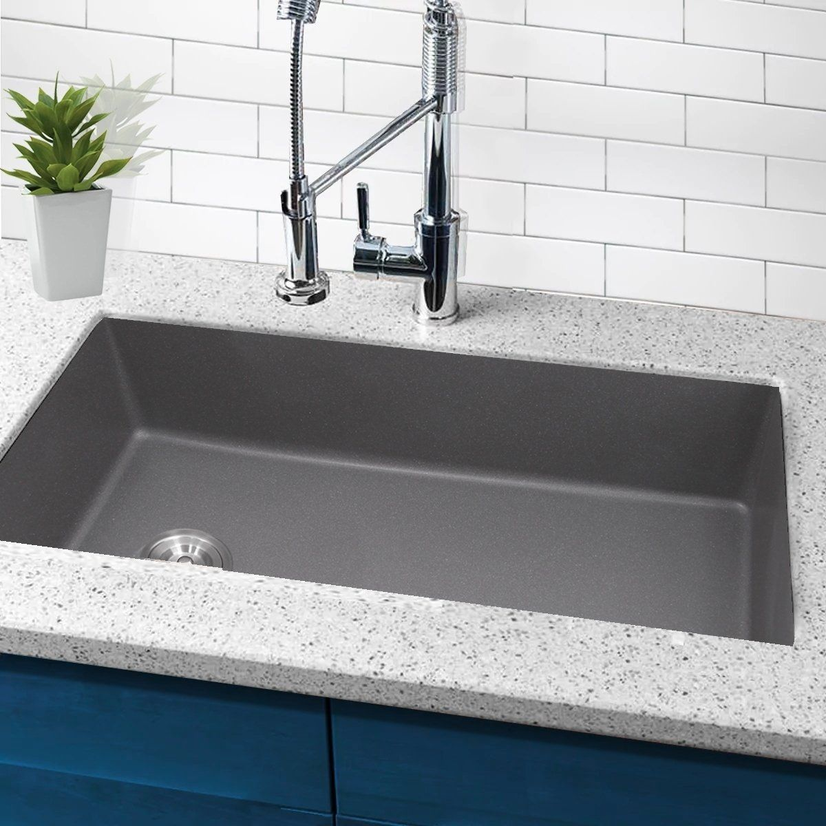 Highpoint Collection 32 Inch Granite Composite Sink With Side Drain Gray Products In 2019 Composite Sinks Granite Composite Sinks Sink