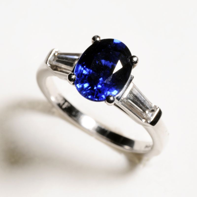 Platinum Oval sapphire and tapered baguette diamond 3 stone ring Sapphire2.50ct diamond0.59ct