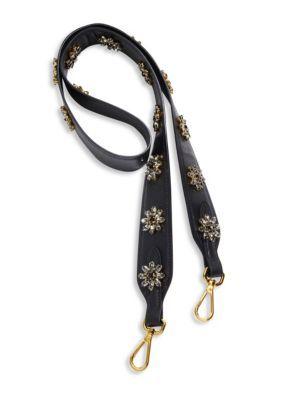 f764f09d17c954 PRADA Crystal-Embellished Saffiano Leather Shoulder Strap. #prada #bags # shoulder bags #leather #crystal #