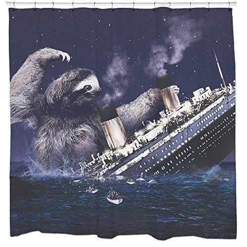 Slothzilla Sloth Titanic Shower Curtain Funny Bathroom Ac Https
