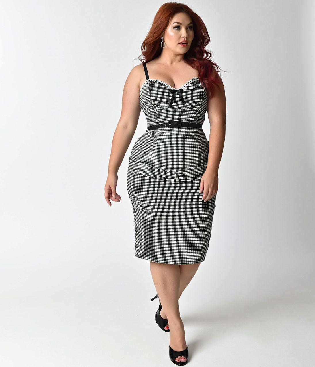 0531e7817bc Micheline Pitt For Unique Vintage Plus Size Black   White Gingham Lilli  Wiggle Dress
