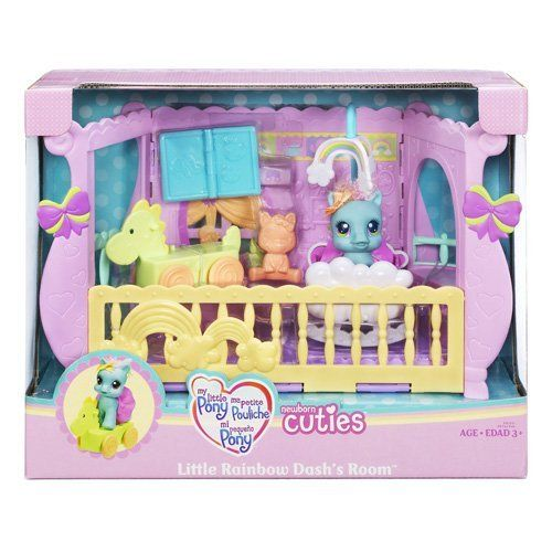 My Little Pony Newborn Cuties Playset Little Rainbow Dash's Room by Hasbro. $29.90. Take her for rides on her roll-along dinosaur ride. Nursery playset comes with an adorable baby pony figure and fun accessories to help you play and care for her.. Dinosaur ride really rolls. Playset comes with baby pony figure, dinosaur ride, blanket, toy animal, skirt and book accessories. Rock the cradle and spin the mobile as she drifts off to dream. My Little Pony Little R...