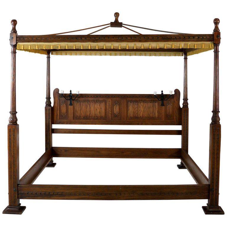 English Gothic/Tudor Style Oak Four Poster Emperor Size Bed