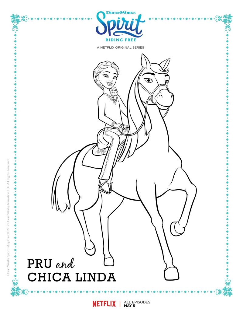Click HERE To Download The Spirit Riding Free Coloring Page Pru And Chica Linda Are Ready For Adventure Your Childs Creative Touches