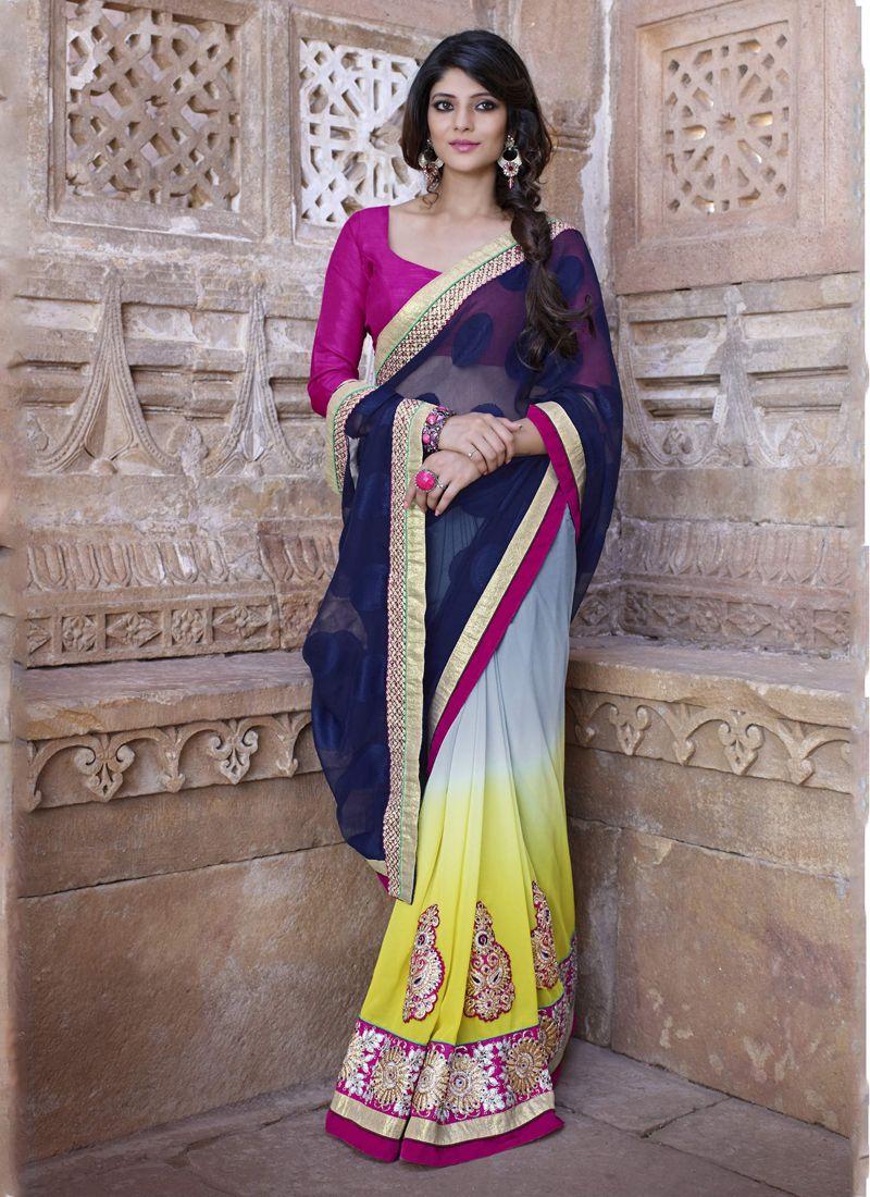 Girlish multi colour georgette designer saree designer sarees