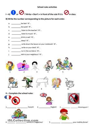 School rules worksheet - Free ESL printable worksheets made by ...