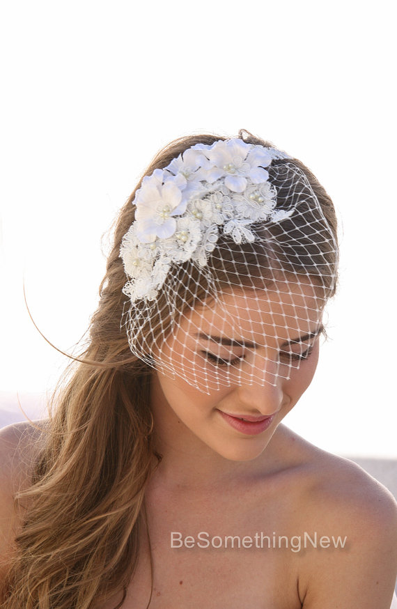cc6960419fe4b Birdcage Veil with Ivory Lace and Vintage Flower Petals and Small ...