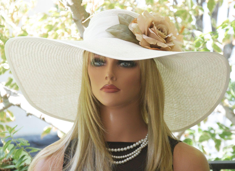 Wide Brim Hat Wedding Ascot Women S Cream Straw Formal Derby