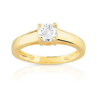 bague solitaire or jaune diamant