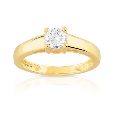 bague solitaire or jaune et diamant