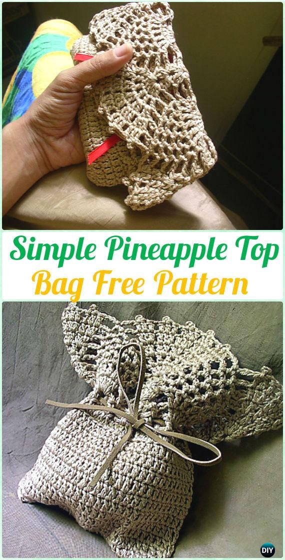 Crochet Simple Pineapple Top Bag Free Pattern Crochet Clutch Bag