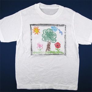 Sandpaper Crayon T-Shirt...Make your own design with crayons on sandpaper, then iron it onto a t-shirt, apron, tote bag, pillowcase, etc.  Letters/words would have to be written backwards, but using a stencil would probably help.