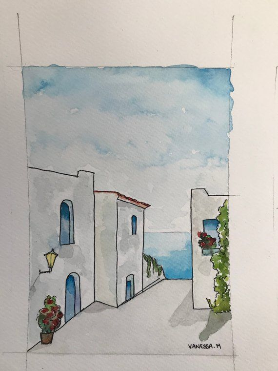 Aquarelle paysage Grec #easywatercolorpaintings