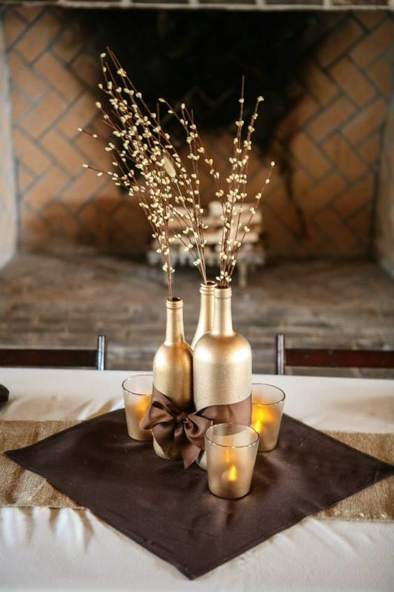 Image result for wine bottle centerpieces for wedding for Wedding table decorations with wine bottles