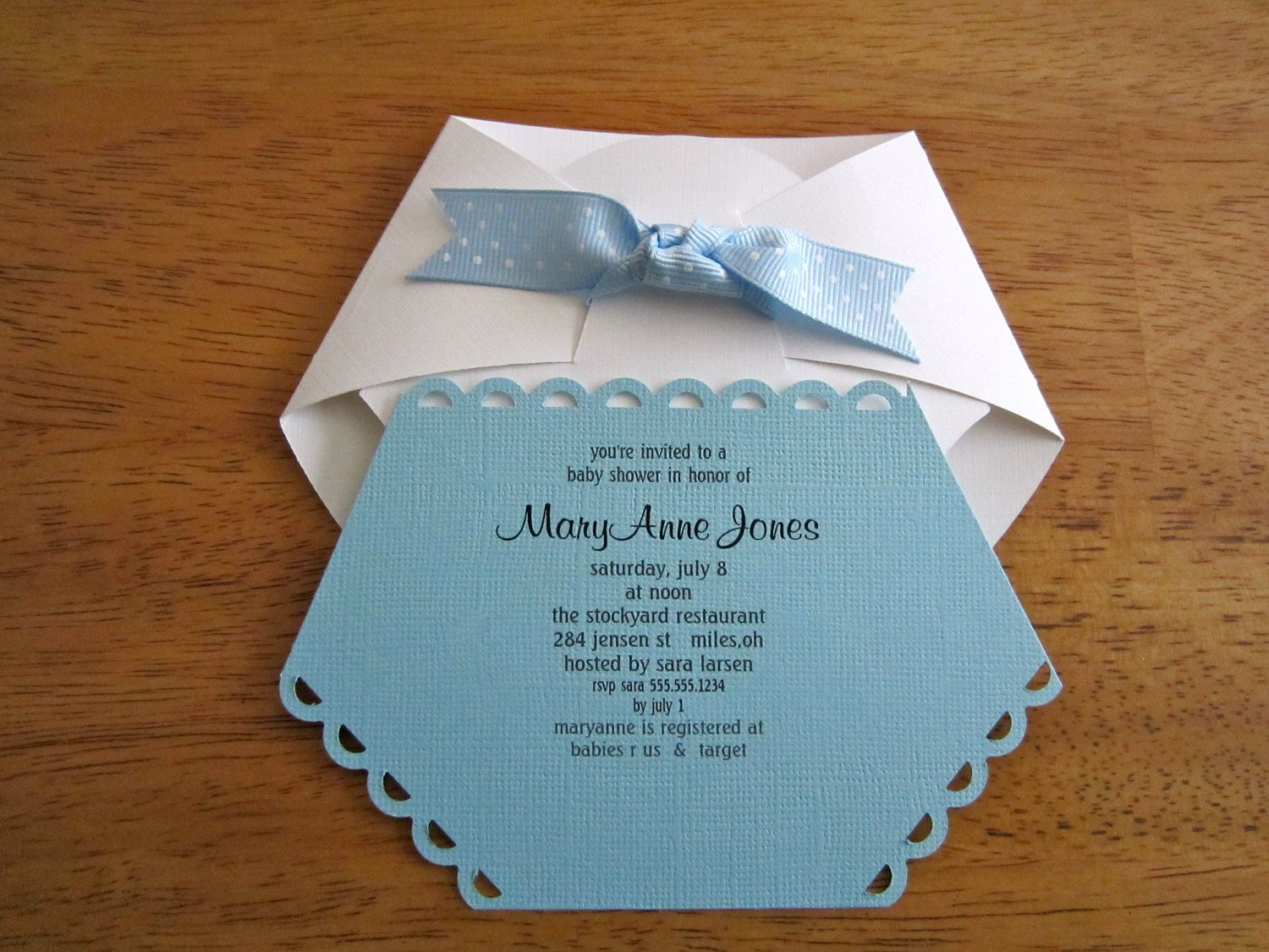 Handmade Baby Shower Invitation Diaper Shape Tarjetas De Baby