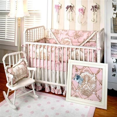 The New Arrivals Baby Bedding Features Pink And Chocolate Fabrics To Set Stage For This Luxurious Crib